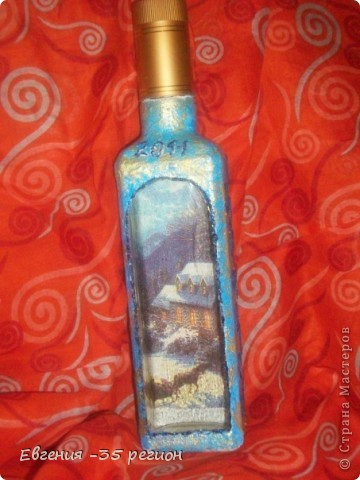 Новогодняя бутылка. Прямой и обратный декупаж. фото 3