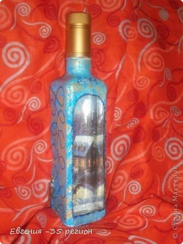 Новогодняя бутылка. Прямой и обратный декупаж. фото 1