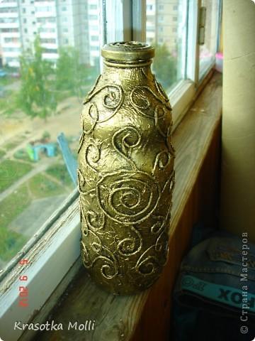 бутылочка из под гранатового сока в тех-ке пейп-арт)) фото 1