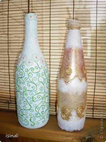 Очень заинтересовала методика Татьяны Сорокиной.Две бутылочки по краям сделаны по её МК в технике пейп-арт. фото 2