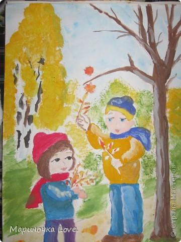 Дети и осенний лес фото 1