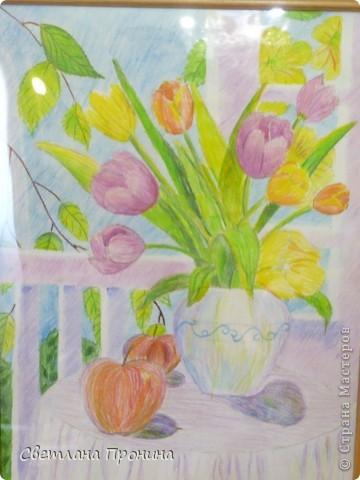 Эту картину нарисовала акварельными карандашами моя 9-летняя дочь! Подарила на День рождения бабушке.