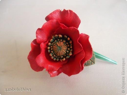 Всем привет!) Хочу вот вам показать мою вторую уже заколочку (мне определенно нравится их создание). Как известно цветущий мак является символом женского очарования, наверное, именно по этому именно этот цветок я выбрала когда делала украшение для моей сестренки). Изначально заколочка выглядела так... фото 2