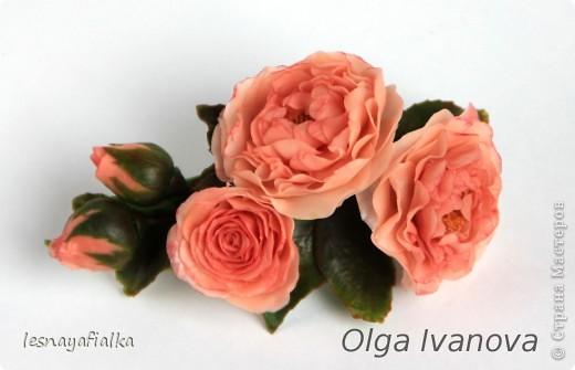 Добрый день, мастера и мастерицы. Хочу показать новую заколочку с английской розой. Мучительный цветок, пожалуй, самый сложный из всех. Переделывала трижды и все равно до конца не осталась довольна. Впрочем, я очень редко бываю довольна своей работой. Сейчас бы сделала по-другому. фото 1