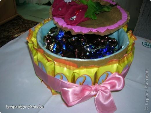 Вот такие сладкие подарки приготовили учителям на презенты. Семь корзинок с цветами, большая гроздь винограда и малая, шкатулка для классного руководителя. фото 11