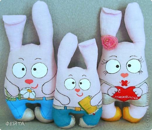 Семейка зайцев- мама,папа и сыночек. (заказали таких заек) фото 1