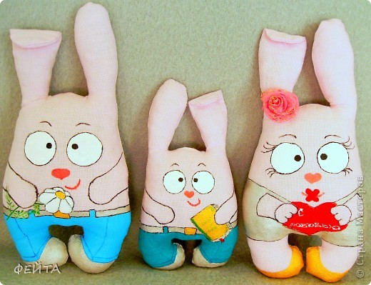 Семейка зайцев- мама,папа и сыночек. (заказали таких заек) фото 2