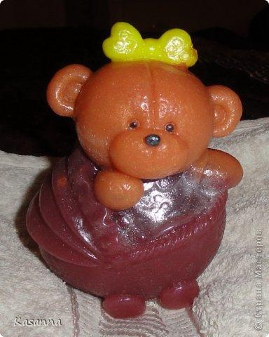 """Мишка в коляске. Из мыльной основы, с миндальным маслом, америк. отдушка """"Обезьянья радость""""))  фото 1"""