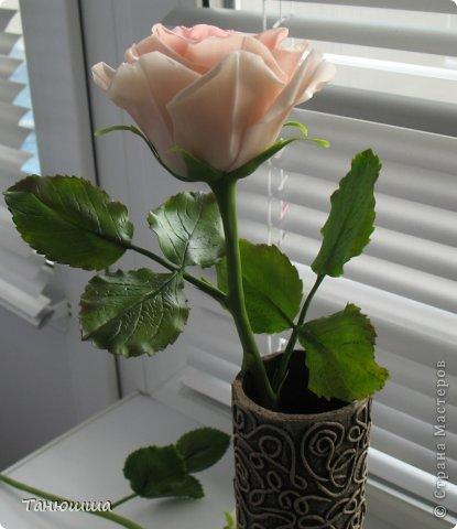 Девочки, привет! Вот заскочила с новыми работами. Роз будет много, леплю, и сроки ограничены, поэтому не совсем законченные изделия перед вашими глазами - есть недоделки в оформлении стеблей и их тонировке. Но, боюсь, потом просто не успею сфоткать. Розы разные, не для букета, будут дариться по одной. Жду вашего мнения и критики.  А....! И ваза, конечно. Пейп-арт осваивала. Сделала основу для вазы из трубы ПВХ (пластиковой, предназначенной для водопровода). Муж болгаркой отрезал нужный отрезок. Диаметр трубы 6 см. Малярным скотчем приклеила дно из плотного картона и вперёд, по алгоритму Татьяны Сорокиной. Розы из самоварного фарфора. фото 7