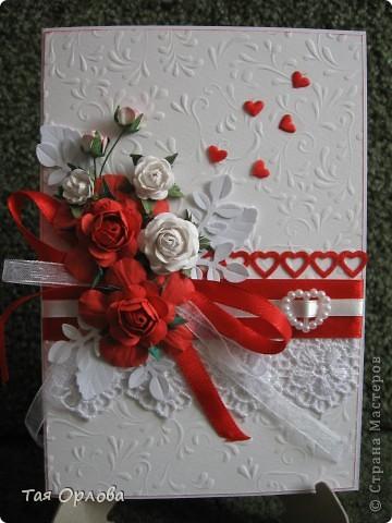 Приветик всем!Я сегодня к вам с открыткой к свадьбе.Красное и белое... фото 1