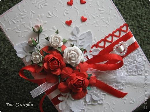 Приветик всем!Я сегодня к вам с открыткой к свадьбе.Красное и белое... фото 2