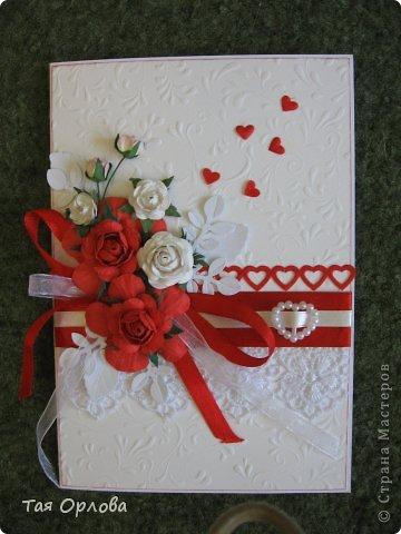 Приветик всем!Я сегодня к вам с открыткой к свадьбе.Красное и белое... фото 8