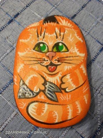 Насмотрелась в интернете разрисованных камней , решила и сама попробовать . Вот , что получилось. Кошачее семейство прям... фото 4