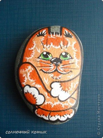 Насмотрелась в интернете разрисованных камней , решила и сама попробовать . Вот , что получилось. Кошачее семейство прям... фото 3