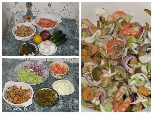 И снова мой любимый салатик! Очень вкусный и очень легкий!  И снова морепродукты! Ну ничего с собой не могу поделать, я их просто обожаю!!! На фото, как всегда, двойная порция ингредиентов, ну не могу я свои любимые салаты готовить маленькими порциями… Итак, приступим... фото 2