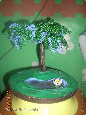Вот и появилось у меня долгожданное дерево. Бисер на фото получился голубой (видимо от вспышки). На самом деле он фиолетовый. Спасибо сайту http://www.podelkin-dom.ru/masterklass/derevo-is-bisera/68-derevo-glitsiniya.html   фото 1
