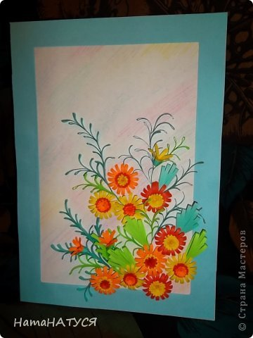 Добрый день, уважаемые жители СМ!!! Сегодня у меня цветочная композиция. Цветы, то ли календула, то ли не знаю даже какие. Цветы делала по МК Тёти Лены (за что ей огромное спасибо).  Мне кажется, что похожи на календулу. Хочу услышать ваше мнение: жду отзывов. фото 1