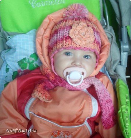 шапочка с ушками и шарфик фото 1
