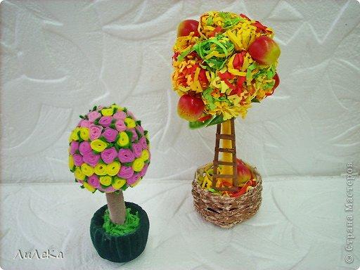 Это работы моих кружковцев. Осеннее деревце сделала Оксана, а деревце с розочками из фетра - её бабушка.  фото 1
