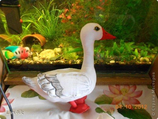 Сшилась у меня вот такая птица-гусь, раскрашена акриловыми красками для ткани, фото 1