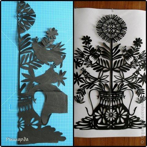 Эту работу вырезала из бумаги черного цвета и наклеила на картон. Получился размер 40*60. фото 2