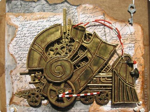 Картина панно рисунок Ассамбляж Стимпанк механическая улитка Бумага Картон гофрированный Материал бросовый