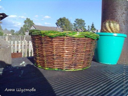 Патриотичная!!! ))) Крашеные колерами газетные трубочки. Дно-кожа. фото 8