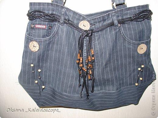 Сумка для мамы из джинсов с кожаным ремешком.  фото 1