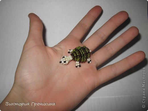 Сегодня сплелась еще одна моя маленькая зверушка параллельным плетением - черепашка!  Обращайтесь за схемой! фото 6