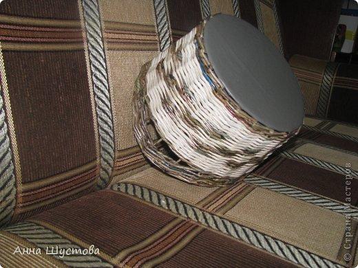 Патриотичная!!! ))) Крашеные колерами газетные трубочки. Дно-кожа. фото 4