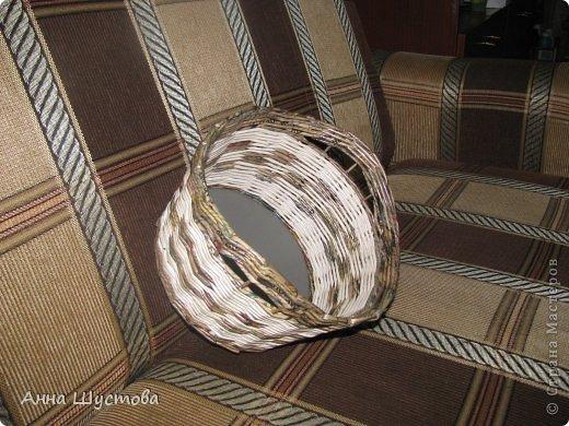 Патриотичная!!! ))) Крашеные колерами газетные трубочки. Дно-кожа. фото 3