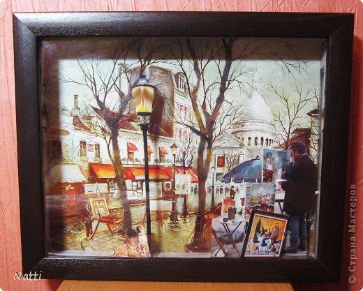 Я продолжаю свои эксперименты с созданием объёмных картин. На эту работу меня вдохновил... готовый постер с парижской улочкой, который я купила в магазине. Я люблю этот город, поэтому захотела его оживить и обыграть. Вот, что у меня получилось - Париж после дождя:  фото 1