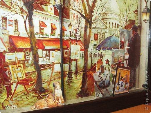Я продолжаю свои эксперименты с созданием объёмных картин. На эту работу меня вдохновил... готовый постер с парижской улочкой, который я купила в магазине. Я люблю этот город, поэтому захотела его оживить и обыграть. Вот, что у меня получилось - Париж после дождя:  фото 2