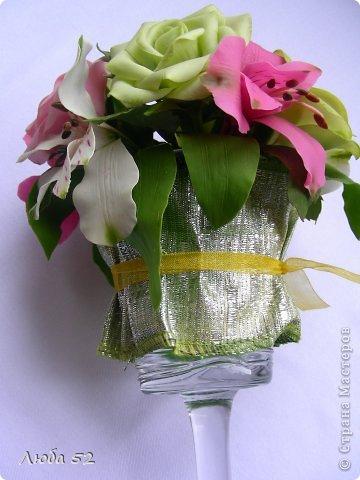 Цветочная композиция из холодного фарфора. фото 2
