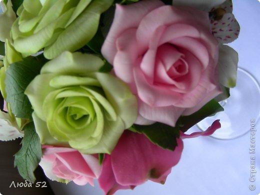 Цветочная композиция из холодного фарфора. фото 3