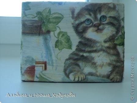 Шкатулочка для подружки любительницы кошек. Это наверное моя самая удачная работа в технике декупаж   фото 6