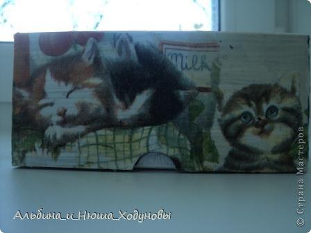Шкатулочка для подружки любительницы кошек. Это наверное моя самая удачная работа в технике декупаж   фото 5