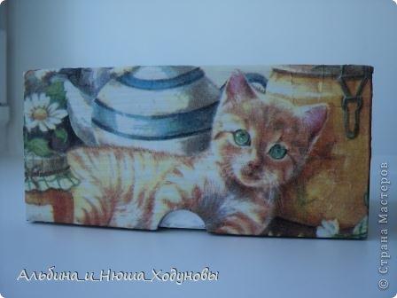 Шкатулочка для подружки любительницы кошек. Это наверное моя самая удачная работа в технике декупаж   фото 3