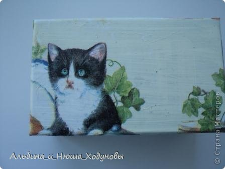 Шкатулочка для подружки любительницы кошек. Это наверное моя самая удачная работа в технике декупаж   фото 2