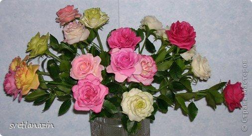 """Здравствуйте, жители СМ!!! Представляю Вашему вниманию """"выращенный"""" мною букет из 19 роз. Экспериментировала и с формой цветка, и с тонировкой. Белые розочки из неокрашенного ХФ (обнаружила, что из """"пищевого кукурузного крахмала"""", масса получается белой). фото 1"""