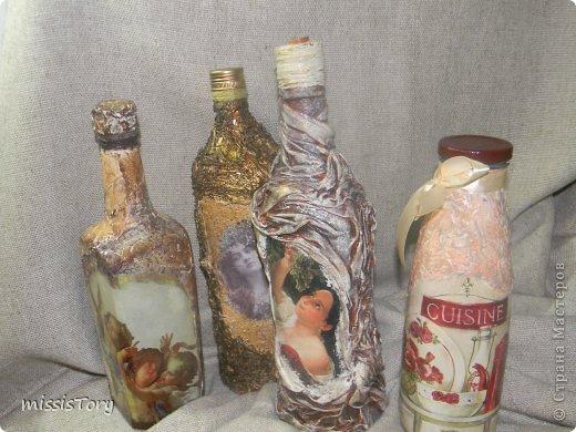 Уважаемые мастерицы!Хочу показать Вам свои новые творения-бутылочки! фото 1