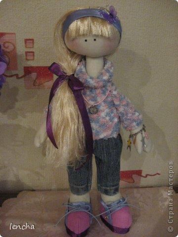 Здравствуйте, мои дорогие жители Страны мастеров!!!!!!!!!! Я очень рада видеть вас на своей страничке!!!!!! Сегодня хочу познакомить вас со своей новой куколкой-----Лизонькой.  Я давно мечтала начать шить таких куколок, но всё как-то не моглось (моя гулящая Муза опять улетела и я без неё, как малое дитя........ничего не могу........не придумывается, не делается ..........................ну совсем никак :((((   Но сегодня, о чудо!!!!!!!!!!!!! Моя Музочка прилетела и дрынькнула на своей волшебной арфочке, и я, как ошалелая поскакала шить девочку, о которой уже давненько думала :)))   И вот она----ЛИЗОНЬКА, познакомьтесь!!! фото 8