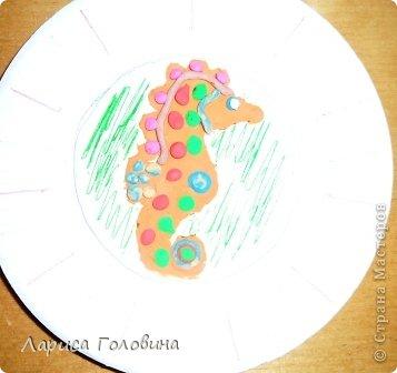Замечательного морского конька увидела у  Флоримель https://stranamasterov.ru/node/418601 Сделали с детьми вариант попроще. фото 2
