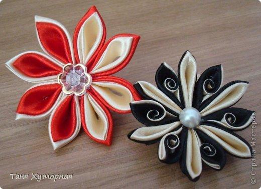 Цветы канзаши из ленты 5 см мастер класс фото