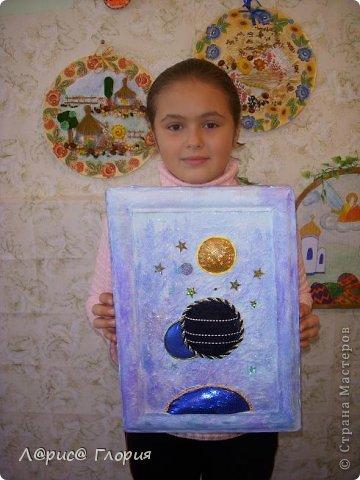 """Моя ученица Аббасова Виолетта сделала коллаж к конкурсу """"Украинский сувенир"""". В работе использованы салфеточные мотивы,подрисовка красками и пастелью, мешковина, семена, природный материал. фото 2"""