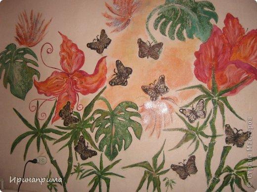 Это новое безумство на моей стене.Захотелось продления лета и....вот теперь,даже в сильные морозы у меня в комнате благоухание тропических цветов,и порхание бабочек! фото 1