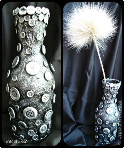 Здравствуйте .дорогие рукодельницы .Еще парочка бутылочек появилось ,название ....полет бабочки .....пластик дас ,бабочка покрашена в голубой и сверху золотом ,фото темное .но при вспышке ,все искажается,это уже настоящая вазочка ,только за декорирована . фото 2