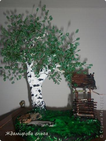Для работы потребовалось бисер(зелёный),гипс,акриловые краски,Лак,колодец выполнен из спичек.  фото 2