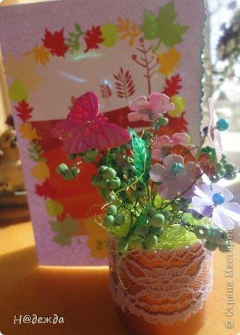 Ко дню учителя Вероника делалет подарки сама. Вои в этом году она решила сделать бисерные букетики с цветочками.  фото 11