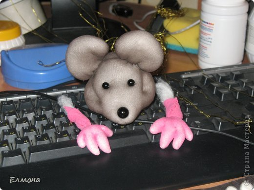 Каркасная мышка,лапки,хвостик подвижны. фото 6